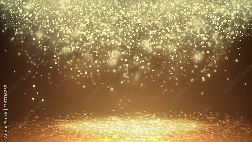 Fototapeta Dark Gold sparkle rays lights with bokeh elegant show on stage  abstract background. Dust sparks background.
