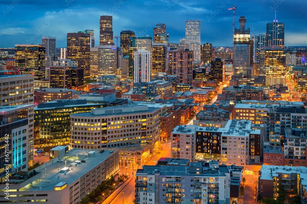 Fototapeta Denver City Skyline at Dusk