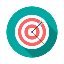 Target Circle Icon With Long Shadow. Flat Design Style. Dartboard Simple Silhouette. Modern, Minimalist, Round Icon In Stylish Colors. Web Site Page And Mobile App Design Vector Element.