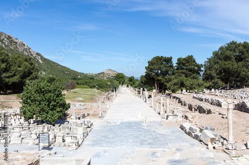Fototapeta Aerial view of Arcadian Street (Harbor Road) in Ephesus