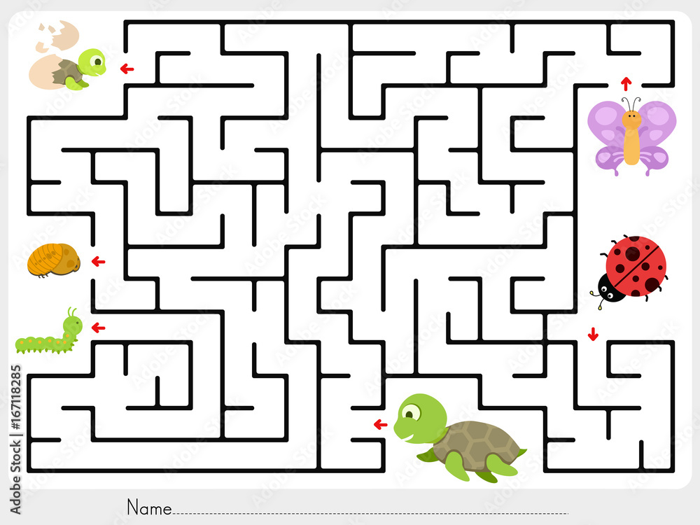 Fototapeta Maze game: Match animal, butterfly ladybug and turtle finding the baby - worksheet for education