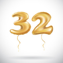 Vector Golden Number 32 Thirty Two Of Inflatable Balloon Isolated On White Background