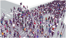 Illustration Of Crowd Marching And Demonstrating For Equality