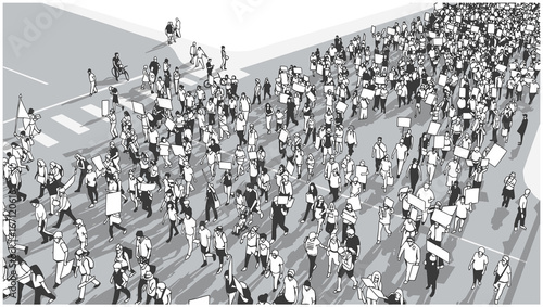 Vászonkép  Illustration of crowd marching and demonstrating for equality