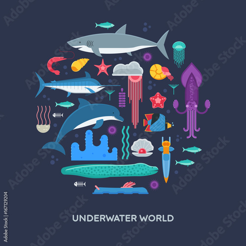 Sea animals and fishes concept background stylized in circle Fototapete