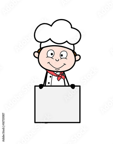 Fotografía  Cartoon Chef with Notice Board Vector Illustration