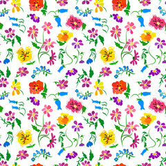 Seamless pattern with abstract flowers and leaves on a white background.
