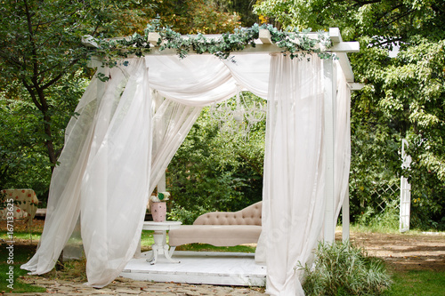 Gazebo for relaxing outdoors. Romantic alcove Canvas Print