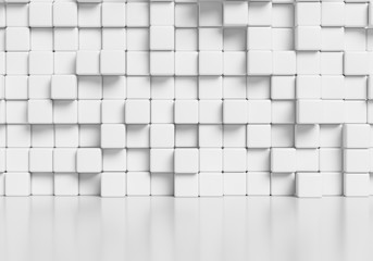 White abstract cubes wall and glossy floor 3d background