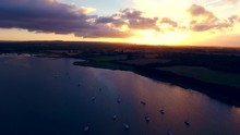 Stunning Aerial Shot Over Chichester Marina And Harbour Area On The Chichester Canal In West Sussex.