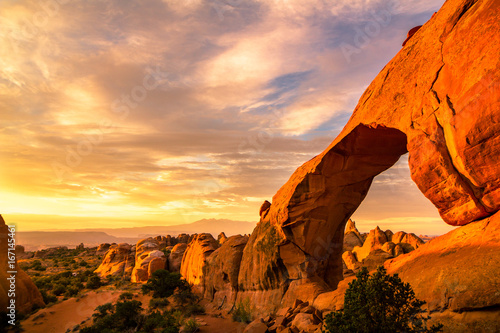 Poster Melon Sunrise in at Devils Garden Campground in Arches National Park, Utah