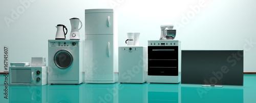 Set of home appliances on a green floor. 3d illustration Wallpaper Mural