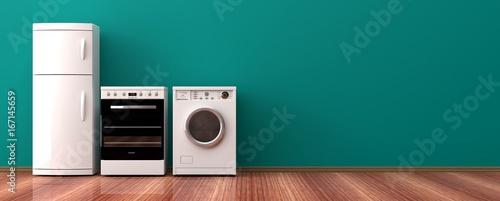 Photo Home appliances on a wooden floor. 3d illustration