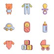 Baby equipment icons set, flat style