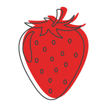 Red Strawberry In Doodle Style Icons Vector Illustration For Design And Web Isolated On White Background
