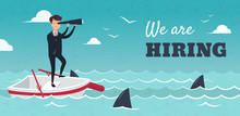 We Are Hiring Banner. Vector Illustration Of Businessman On Boat Watching Through Telescope. HR Concept