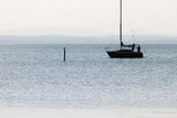 Silhouette of two men on a boat over a lake, with a bird on a pole in front of them - 167154429
