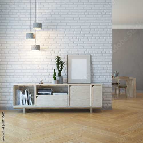 Fotografering living room interior with wooden sideboard, 3d rendering