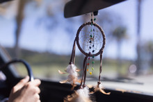 Close Up Of Dreamcatcher Hanging In The Car