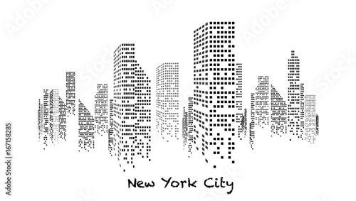 Fotografie, Obraz  Building blanc et noir éclairé en construction, gratte-ciel, immeuble, lumière,