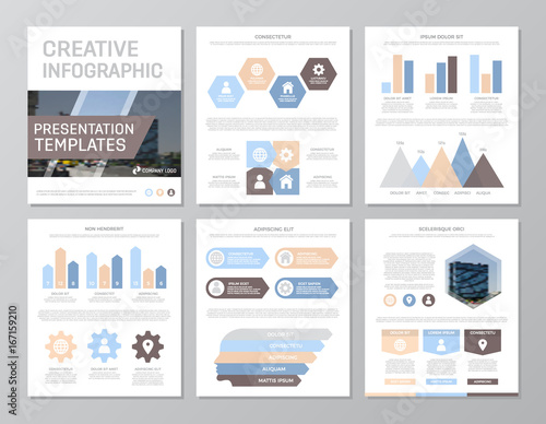 Set Of Colored Elements For Multipurpose A4 Presentation Template Slides With Graphs And Charts Leaflet Corporate Report Marketing Advertising