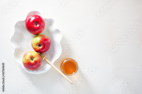 Fotografie, Obraz  Apples, pomegranate and honey for Rosh Hashanah