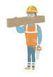 African-american carpenter holding saw and wooden board. Full length of young carpenter with hand saw and wooden board. Vector sketch cartoon illustration isolated on white background.