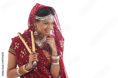 Poster Gypsy Female dandiya dancer with sticks