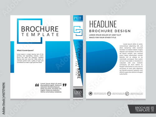 blue brochure template portfolio layout background cover book