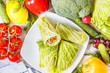 Savoy cabbage wraps with vegetables and shrimp