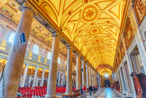 ROME, ITALY - MAY 08, 2017 : Inside the Basilica of Santa Maria Maggiore (on Piazza di Santa Maria Maggiore)-is  a Papal major basilica and the largest Catholic Marian church in Rome Canvas