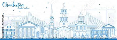 Outline Charleston South Carolina Skyline with Blue Buildings. Fototapet