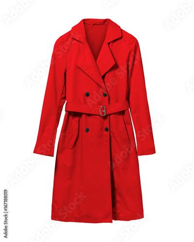 Obraz Red elegant woman autumn coat isolated white - fototapety do salonu