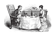 Woman And Man On Dining Table ...