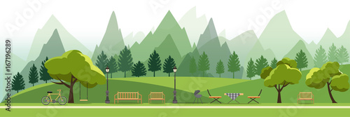 Poster Blanc nature landscape with garden,public park,camping BBQ Grill outdoor, picnic,vector illustration