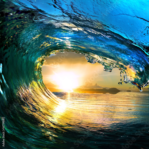 Photo Stands Abstract wave rough colored ocean wave falling down at sunset time