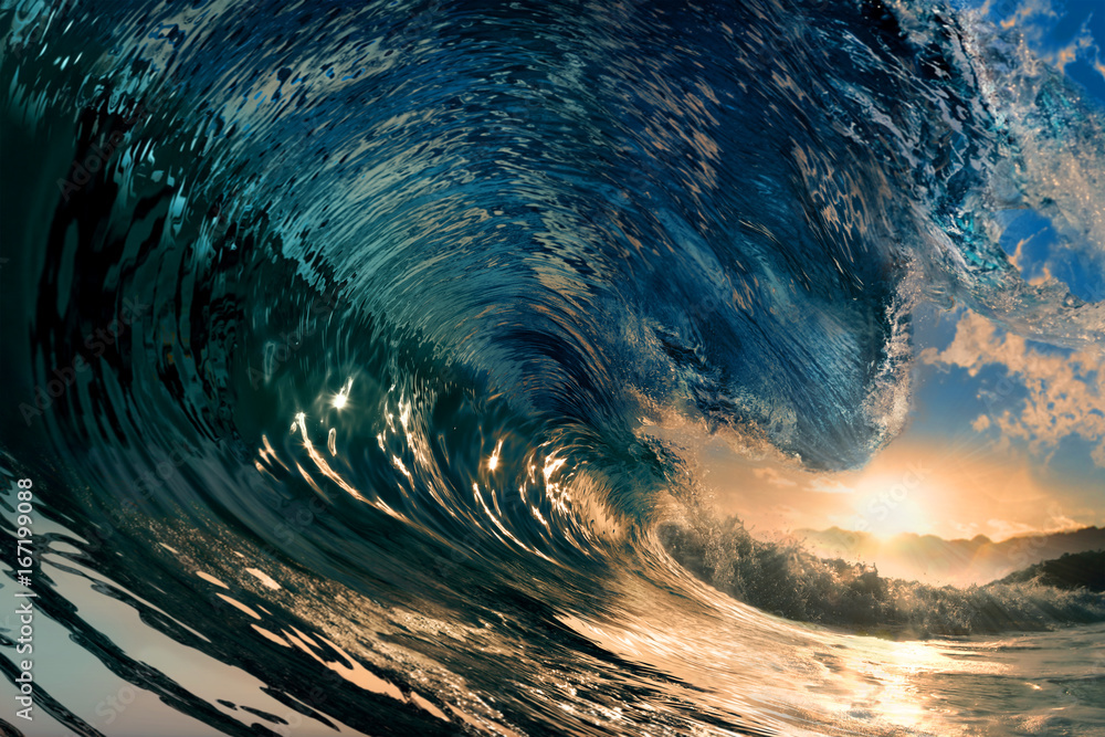 Fototapety, obrazy: rough colored ocean wave falling down at sunset time