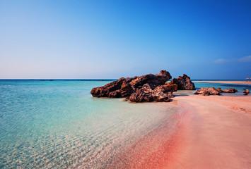 Fototapeta Morze Beauty of Nature. Beautiful Elafonissi Beach with Pink Sand on Crete, Greece