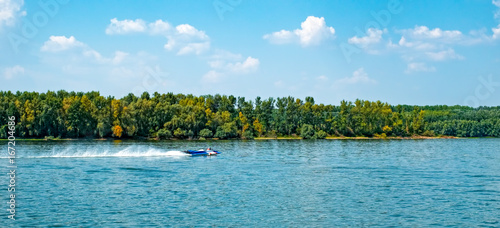 Poster Water Motor sports Speed boat on water