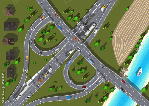 Poster de jardin Route top view highway with bridge over the river and boat