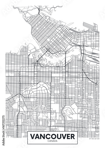 Photo Detailed vector poster city map Vancouver