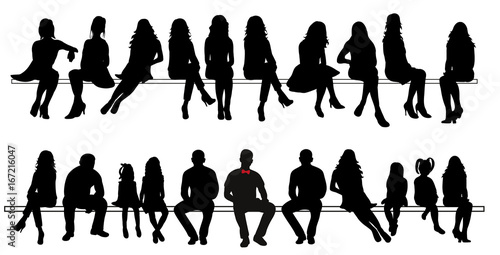 Fotografía  Vector, silhouette of sitting people set