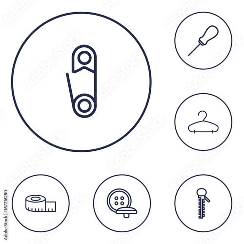 Photo Set Of 6 Tailor Outline Icons Set