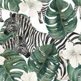 Akwarela malarstwo wzór z tropikalnych liści deliciosa, kwiatów hibiskusa i zebry - 167228080
