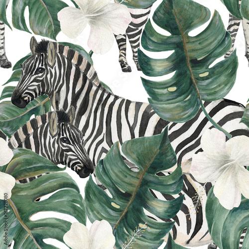 Akwarela maluje bezszwowego wzór z tropikalnymi deliciosa liśćmi, poślubników kwiatami i zebrą