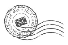 Round Air Mail Black Postmark ...