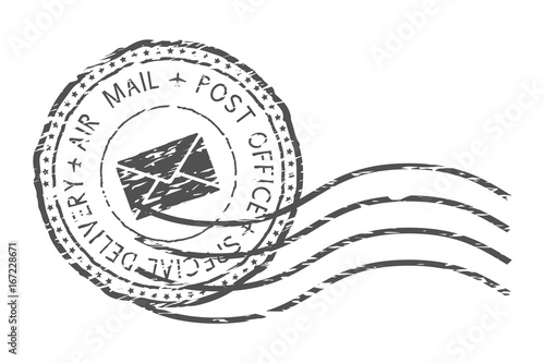 Fotografía  Round air mail black postmark with envelope sign