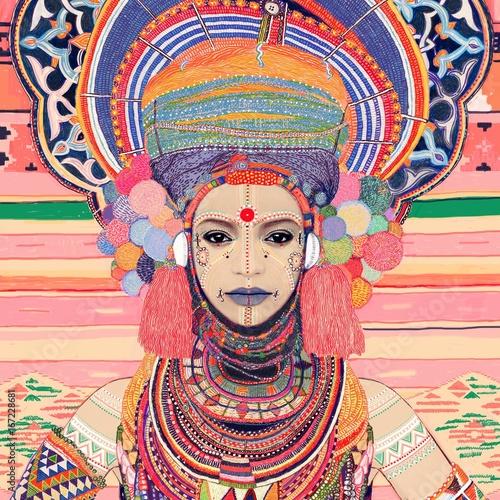 Goddess Tribal Colourful Serene Woman Wearing Headdress Poster