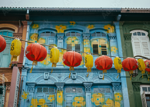 Singapore - November 10, 2015: The colorful streets of Singapore's Chinatown are decorated with lanterns during the city-state's 50 year anniversary