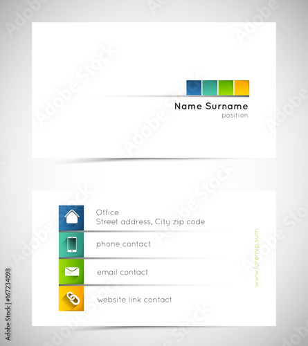 business card template with colorful squares and icons - Buy this